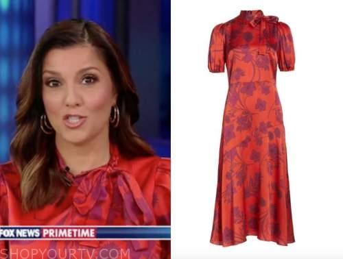 fox news primetime, rachel campos duffy, red silk floral tie neck midi dress