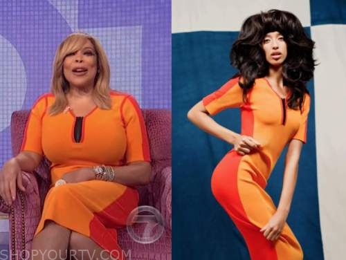 wendy williams, the wendy williams show, orange colorblock knit dress