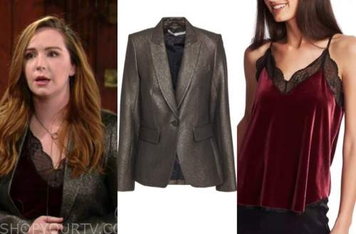 mariah copeland, camryn grimes, the young and the restless, gold metallic blazer, velvet lace camisole