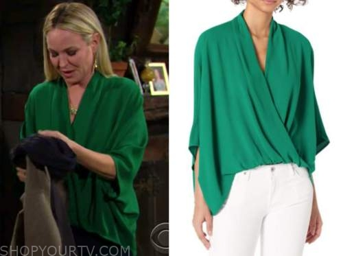 sharon newman, sharon case, the young and the restless, green drape top