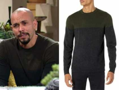 bryton james, devon hamilton, the young and the restless, colorblock sweater