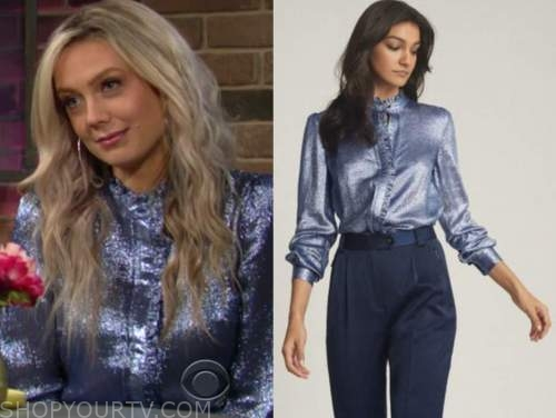 abby newman, melissa ordway, the young and the restless, blue metallic ruffle blouse