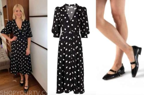 holly willoughby, this morning, black and white polka dot dress, black mary janes shoes