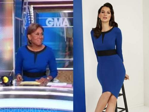 robin roberts, good morning america, blue knit dress