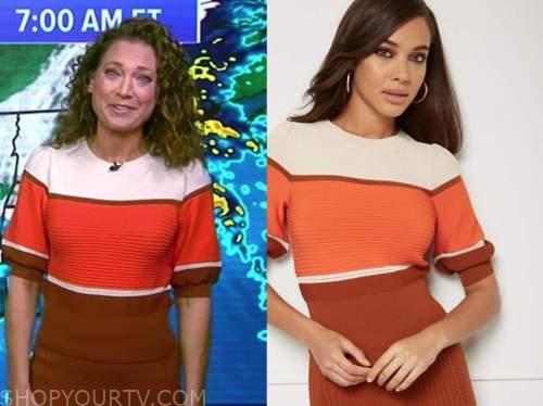 ginger zee, good morning america, ivory and orange stripe sweater