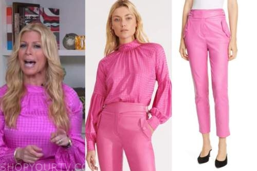 jill martin, pink houndstooth blouse, pink leather pants, the today show