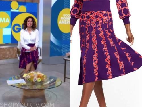 cecilia vega, good morning america, purple and pink printed knit pleated skirt