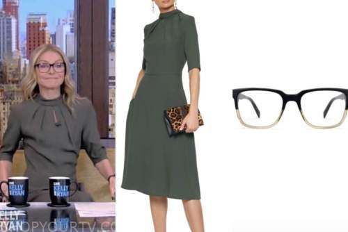 kelly ripa, live with kelly and ryan, olive green dress, glasses