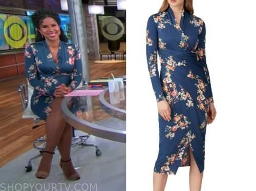adriana diaz, cbs this morning, blue floral dress