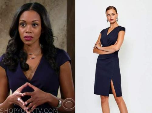 mishael morgan, the young and the restless, navy blue cap sleeve sheath dress, amanda sinclair