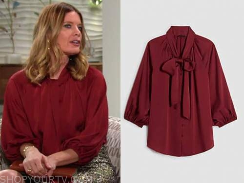 phyllis newman, michelle stafford, the young and the restless, red tie neck blouse