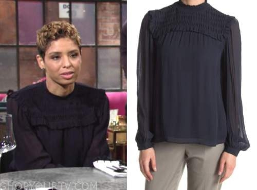 elena dawson, brytni sarpy, the young and the restless, navy blue smocked ruffle blouse