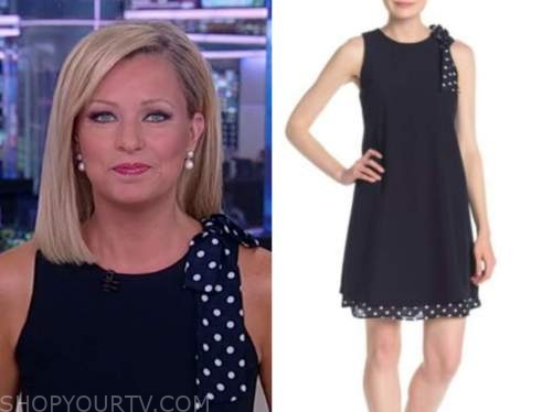 sandra smith, america reports, navy blue polka dot bow shift dress