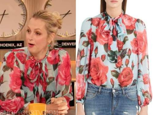ali wentworth, drew barrymore show, floral tie neck blouse