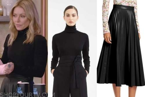 kelly ripa, live with kelly and ryan, black turtleneck, black leather pleated midi skirt