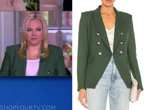 meghan mccain, the view, green double breasted blazer