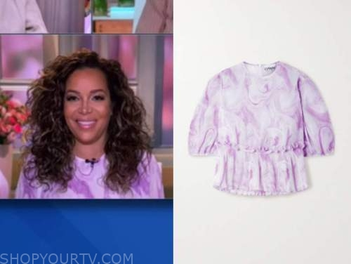 sunny hostin, the view, purple marble print top