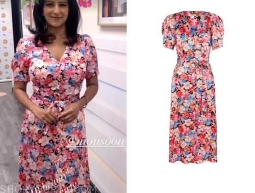 ranvir singh, floral v-neck dress, good morning britain