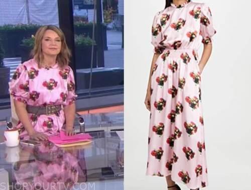 savannah guthrie, the today show, pink floral satin midi dress