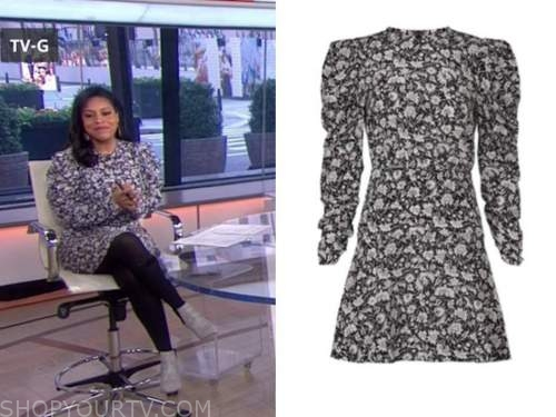 sheinelle jones, the today show, black and white floral puff sleeve dress