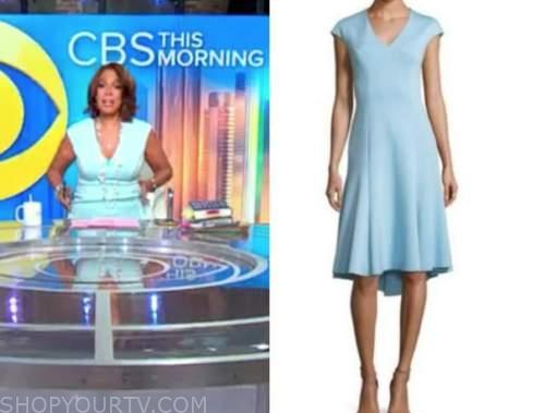 gayle king, cbs this morning, light blue pastel dress