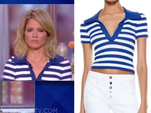 sara haines, the view, blue and white striped knit polo