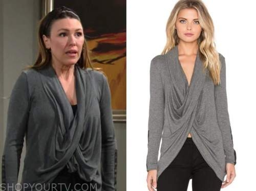 elizabeth hendrickson, the young and the restless, chloe mitchell, grey drape leather panel sweater