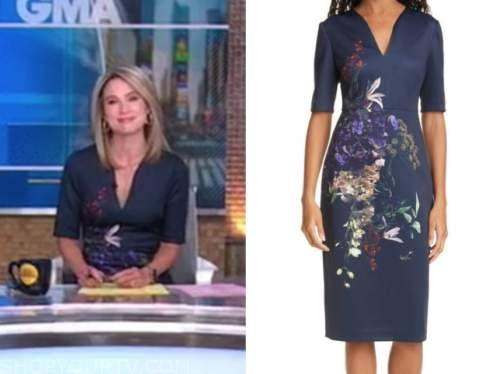 amy robach, good morning america, navy blue floral sheath dress