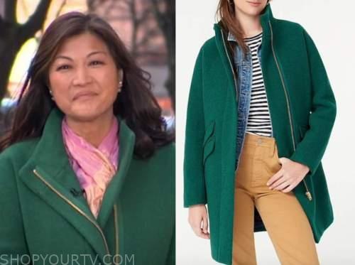 juju chang, good morning america, green zipper coat