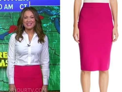 ginger zee, good morning america, hot pink pencil skirt