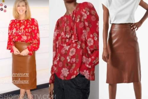 kate garraway, good morning britain, red floral blouse, brown leather pencil skirt