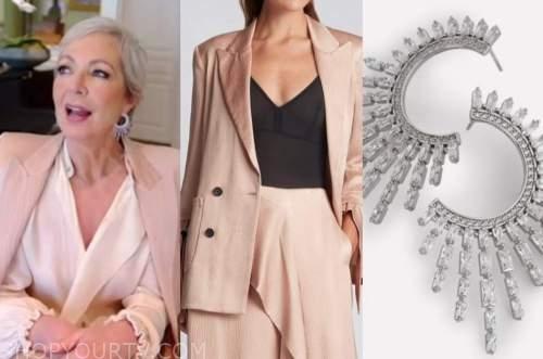 allison janney, drew barrymore show, pink blazer, crystal hoop earrings