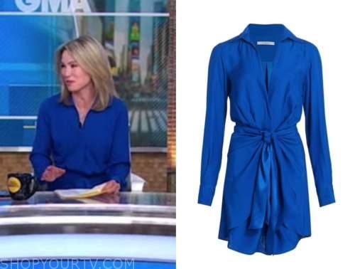 amy robach, good morning america, blue knot shirt dress