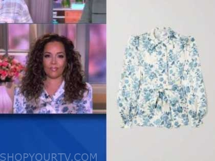 sunny hostin, the view, blue and white floral satin blouse