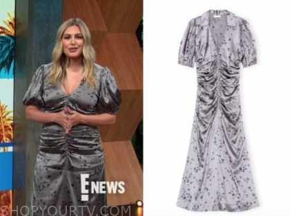 carissa culiner, silver grey satin ruched floral midi dress, E! news, daily pop