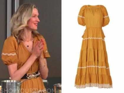 catherine mccord, E! news, daily pop, mustard yellow midi dress