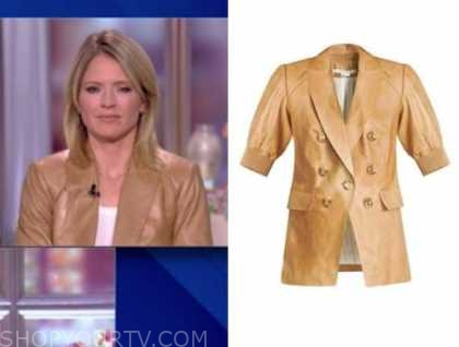 the view, sara haines, camel tan leather jacket