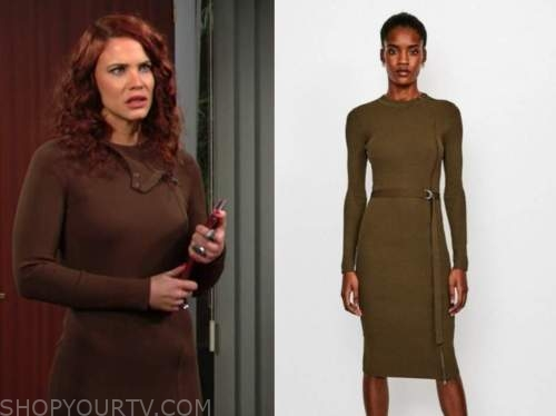sally spectra, courtney hope, the young and the restless, brown khaki ribbed knit dress