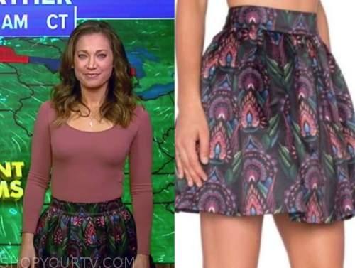 good morning america, satin printed flare skirt, ginger zee