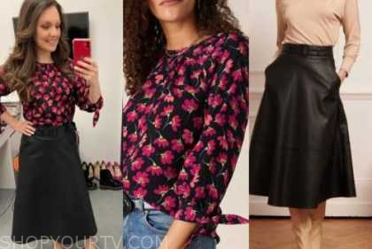 good morning britain, laura tobin, black floral top, black leather skirt