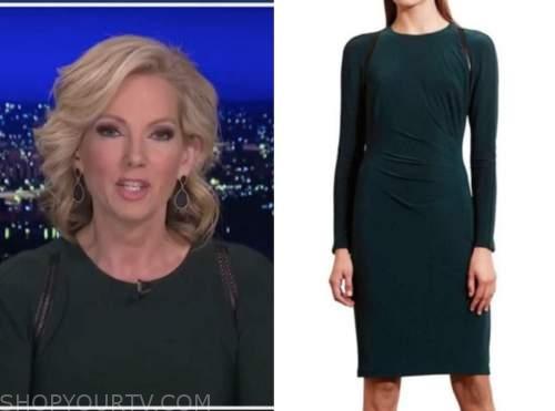 shannon bream, fox news at night, green leather trim dress