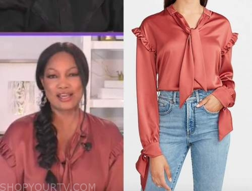 garcelle beauvais, orange ruffle tie neck blouse, the real