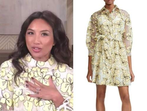 the real, jeannie mai, yellow floral lace dress