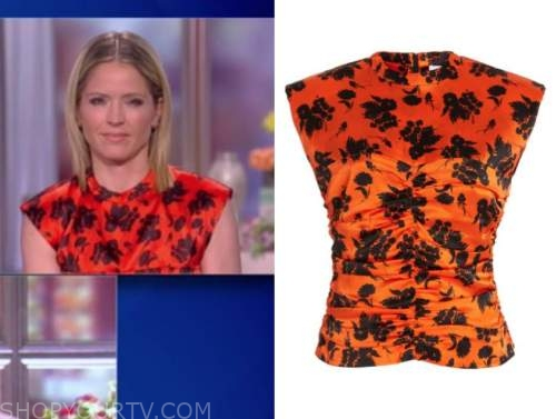 sara haines, the view, orange floral satin ruched top