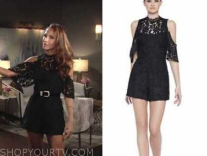 lily winters, christel khalil, the young and the restless, black lace cold-shoulder dress romper