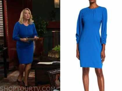 nikki newman, melody thomas scott, blue dress, the young and the restless