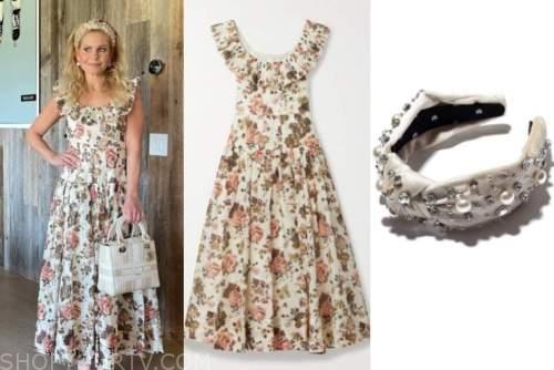 candace cameron bure, floral ruffle dress, embellished knot headband