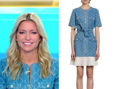 fox and friends, ainsley earhardt, denim zipper dress