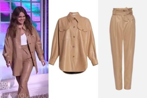 bailee madison, the kelly clarkson show, camel leather shirt and pants