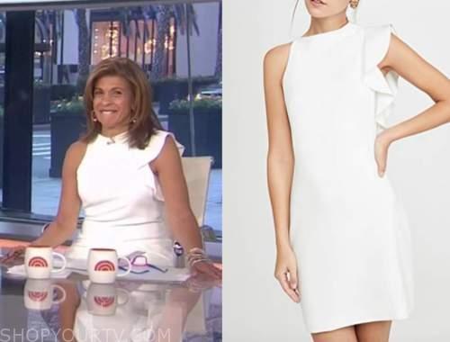 the today show, hoda kotb, white ruffle sheath dress